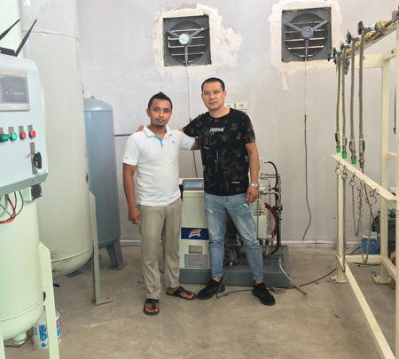 As cutomer invitation ,we go to Indonesia for compressor service and training labor